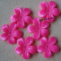 6PCS - Mini Violet Flower Cabochons - 11mm - Resin - Honeysuckle Pink - Cabochons by ZARDENIA