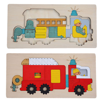Kids Wooden Multilayer Jigsaw Puzzle Toys Early Education 3D Puzzle Story Cartoon Fire Fighting Truck Puzzle For Children Gift