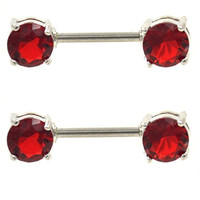Pair of 2 Stainless Steel Nipple Ring Barbells w/Two Red Cubic Zirconia Gems - 14G 9/16""