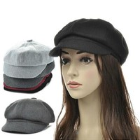 Wool visor newsboy beret hat Flat Cabbie Golf Driving cap visor baker boy hat