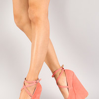 Dunes-16 Suede Criss Cross Ankle Strap Platform Wedge