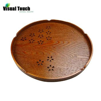 Visual Touch Wood Sakura Carving Hollow Serving Trays Bed Plate Platters for Breakfast