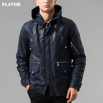 Winter Men's Pigskin real leather jacket Hooded hat Detachable Genuine Leather jacket male overcoat