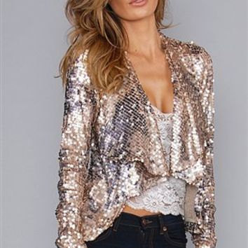 Dolce Cabo Champagne Sequin Drape Jacket