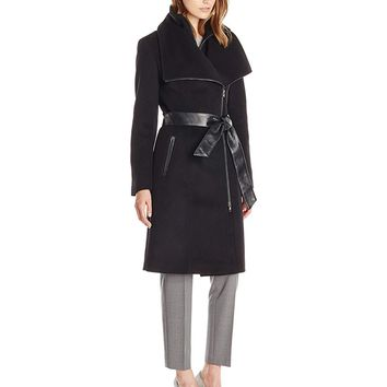 Mackage Women's Nori Belted Wool-Blend Coat with Leather Trim