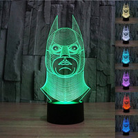 Padaday 100~240v 3D Batman bulbing illusion night multi 7 color changing USB Touch button LED desk table light lamp