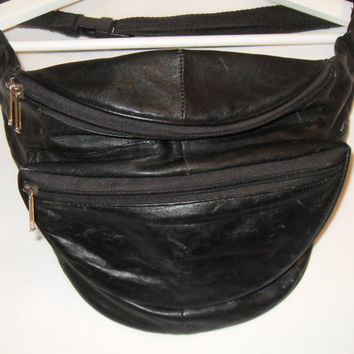 80s Leather Fanny Pack, Black Genuine Leather Hip Purse Handbag