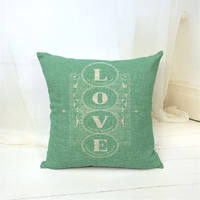 MYJ 2016 New Linen European Style Cushion LOVE Printed 43x43cm For  Decorative Cotton Throw  Pillow Cojines print your name