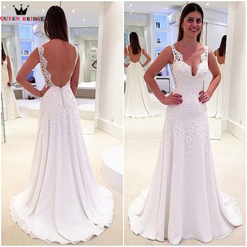 A-line Open Back Chiffon Beading Lace Sexy Formal Wedding Dress