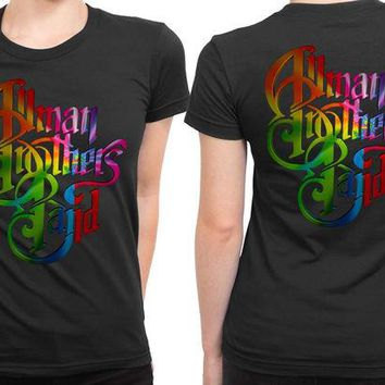 DCCKG72 Allman Brothers Band Title Colorize 2 Sided Womens T Shirt