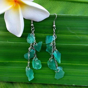 Sea Glass Dangle Waterfall Earrings