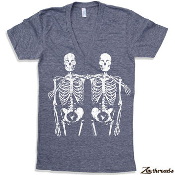 Unisex SKELETONS Deep V Neck t shirt american apparel XS S M L (11 Color Options)