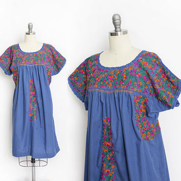 Vintage 1970s OAXACAN Dress - Mexican Blue Embroidered Floral Boho Mini  - Small / Medium