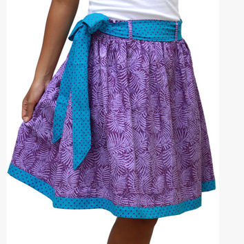 Polka dot and Leaves Print in Purple and Blue Skirt / Summer Purple and Blue Midi Length Skirt with Sash Belt - Ready to Ship