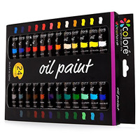 Colore High Quality Oil Paint Set - Perfect for use on Landscape and Portrait Canvas Paintings - Great for Professional Artists, Students & Beginners - Set of 24 Richly Pigmented Oil Paint Colors