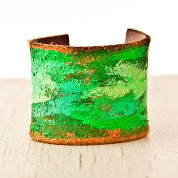 Happy New Year Leather Cuff Earthy Jewelry Eco Friendly Bracelets Upcycled Vintage Belt OOAK For Her 2014 Trends January Finds Cuffs Bands
