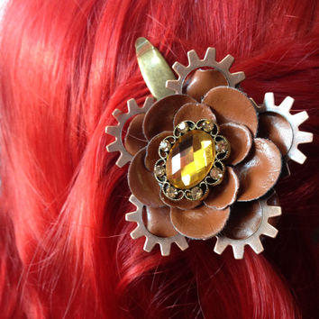 Steampunk Flower Hair Clip, Steampunk Hair Clip, Steampunk Hair Accessories, Pinup Hair Accessories, Rockabilly Hair Flower
