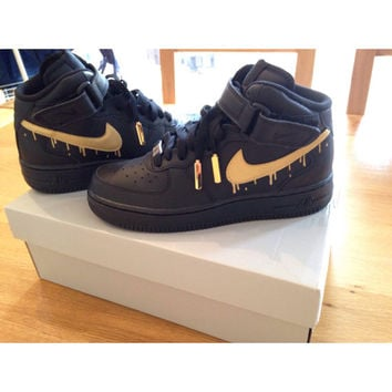 Black and Gold nike air force 1 from LJcustomss on Etsy a9c42ab8c614