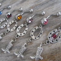 Cowboy Boot Belly Ring, Lucky Horseshoe Spurs Belly Button Ring, Country Western Belly Piercing, Barrel Racing, Cowgirl Up Body Jewelry