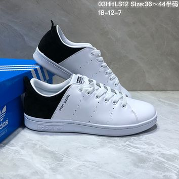 PEAP A465 Adidas Stan Smith Suede Leather Casual Skate Shoes White Black