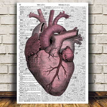 Dictionary print Anatomy art Heart poster Steampunk print RTA1093