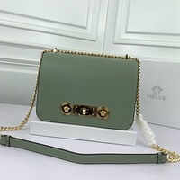 size 22*16*8 cm Versace women shoulder bags handbag Autumn and Winter new arrived green Leather Neverfull Tote Handbag Shoulder Bag Shopping Bags Purse Wallet