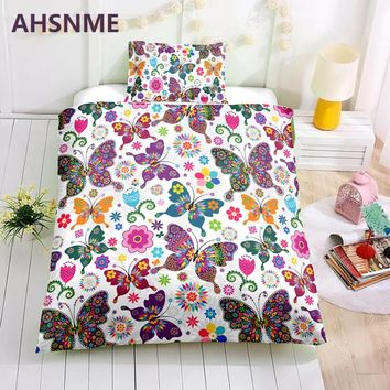 AHSNME Special Promotion! ! ! Children's Cartoon Bedding Set Butterfly and Flowers Sweet Girl's Room Quilt Cover Home Textiles