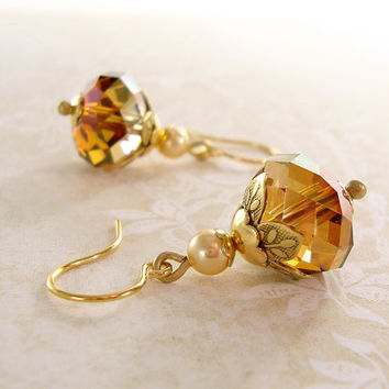 Gold Swarovski Crystal Earrings - Vintage Style Rondelle Earrings - Copper Crystals Victorian Style Swarovski Rondelle Bead Earrings
