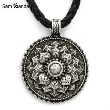 Vintage Tibet Spiritual Necklace Tibet Mandala Pendant Suspension Necklaces  Amulet Religious Jewelry