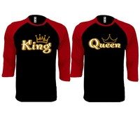 Gold King and Queen Couple Black / Red Baseball T-shirt