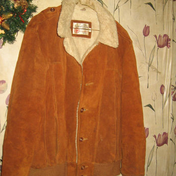 1970s brown suede leather bomber style jacket sears the mens store sz 42