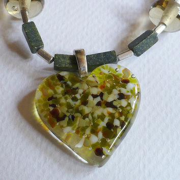 Jewelry, Necklace, Fused Glass Heart, Lampwork Beads, Sterling Silver, Statteam