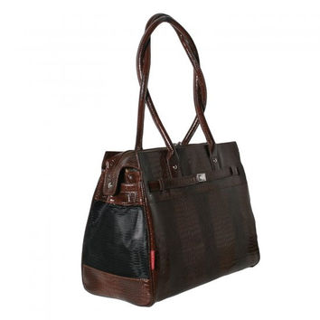 Bark N Bag Embossed Patent Croc Monaco Tote - Croco Brown