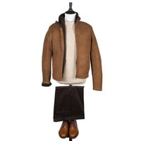 Full shearling jacket in cacao brown | No Man Walks Alone