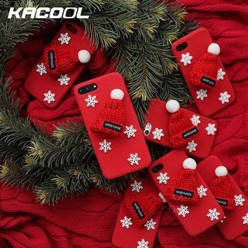 KACOOL Christmas Case For iPhone 6 6s Plus Cases Knitted Hat Cover For iPhone 7 7 Plus Cases For iPhone 8 8 Plus Snowflake Case
