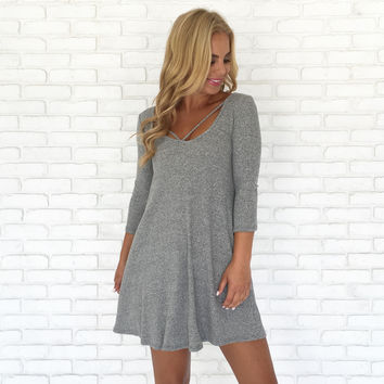 Close Call Knit Dress In Grey