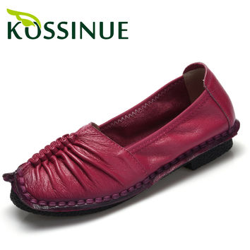 2016 Women's genuine leather shoes shallow mouth flat shoes comfortable shoes handmade women soft casual flats female shoes