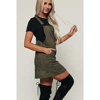 Juni Corduroy Overall Dress (Olive)