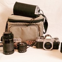 Canon AE-1 35mm FILM SLR Camera w/ Extra Lenses and Accessories