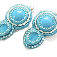 Blue Earrings, Large earrings, Fashion jewelry, Beads Jewelry Embroidered
