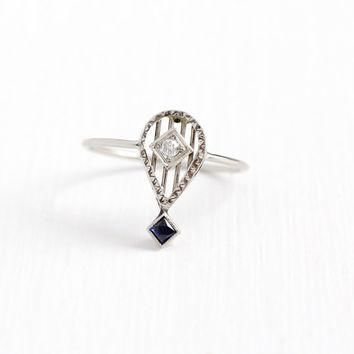 Antique 10k White Gold Diamond & Created Blue Sapphire Stick Pin Conversion Ring - Vin