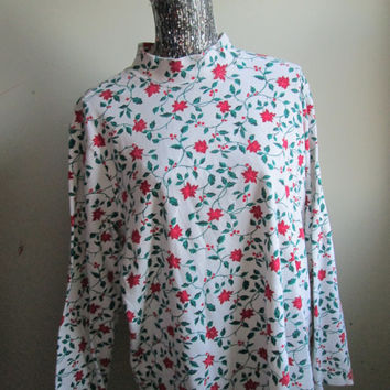 Vintage 90s Poinsettia Christmas Turtleneck Sweater