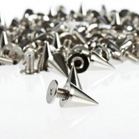 Loevers® 200pcs/set 9.5mm Silver Cone Spikes Screwback Studs DIY Craft Cool Rivets Punk