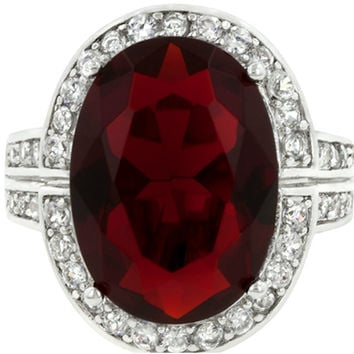Lina Vintage Ruby Red Oval Cut Halo Cocktail Ring | 17ct | Cubic Zirconia | Silver
