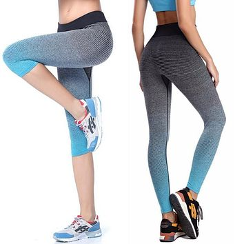 Women Yoga Sport Leggings Summer Capri Pants For Running Fitness Gym Clothes Elastic Capris Gym Athletic Sports Leggings
