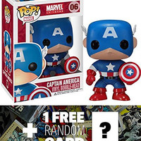 "Captain America: ~3.75"" Funko POP! x Marvel Universe Vinyl Bobble-Head Figure + 1 FREE Official Marvel Trading Card Bundle [22246]"