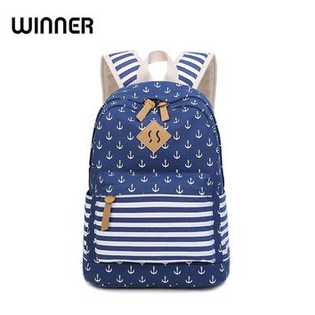Striped Canvas Printing Backpack Women Fresh High School Students Bag for Teens Japan and Korea Preppy Daily Bagpack Fringe