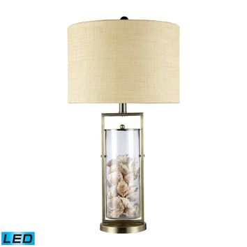 Millisle LED Table Lamp In Antique Brass And Clear Glass With Shells