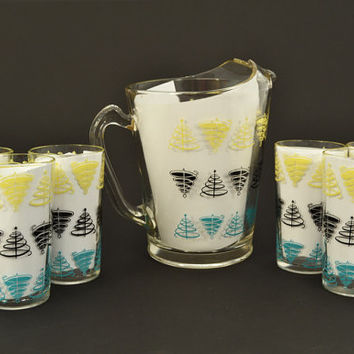 Vintage NOS Turquoise, Yellow, Black Pitcher & Glass Set - Mid Century Atomic Design - Jeannette Glass - Vintage 1950s