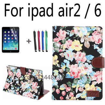 fashion Floral style Stand Magnetic Smart Tablet Case Cover For Apple iPad Air 2 Ipad 6 Case Cover Girl Kids Gift Stylus Pen